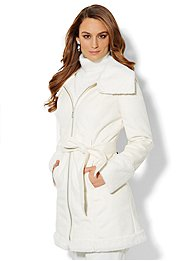 Faux Shearling Belted Coat