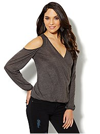Faux-Wrap Cold-Shoulder Top - Heather Grey