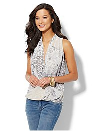 Faux-Wrap Sleeveless Blouse - Paisley