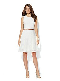 Fit & Flare Belted Crochet Dress