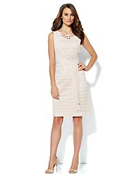 Fit & Flare Pleated Crochet Dress