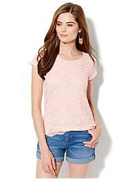 Floral-Lace Front Tee