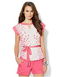 Flutter-Sleeve Colorblock Top - Dot Print