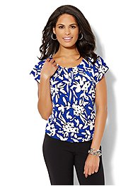 Flutter-Sleeve Pleated Top - Abstract Print