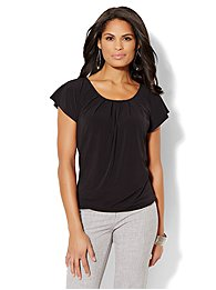 Flutter-Sleeve Pleated Top - Solid