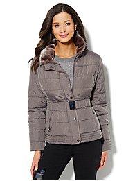 Fur-Trim Belted Puffer Jacket - Grey