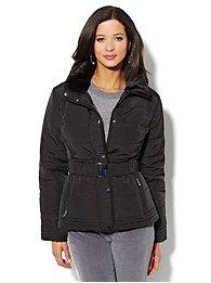 Fur-Trim Belted Puffer Jacket