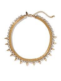Golden Spikes Collar Necklace
