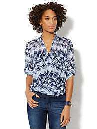 Graphic-Print Faux-Wrap Blouse