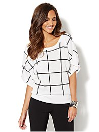 Grid-Stitch Dolman-Sleeve Sweater