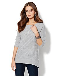 Hi-Lo Cable Sweater