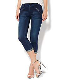 High-Waist Legging Crop - Rugged Blue Wash