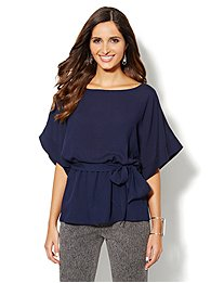 Kimono-Sleeve Belted Blouse
