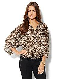 Kimono-Sleeve Blouse - Leopard Print