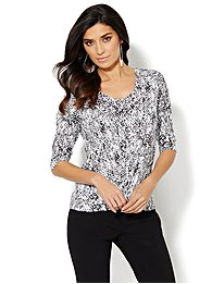 Knotted Scoopneck Top - Python Print