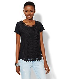 Lace Crochet Panel Short-Sleeve Top