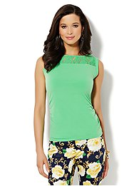 Lace-Inset Sleeveless Top