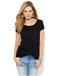 Lace Overlay T-Shirt