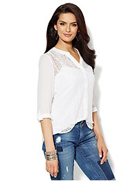 Lace-Panel Blouse