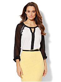 Lace-Trim Colorblock Blouse