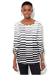 Linear-Print Hi-Lo Tunic Top