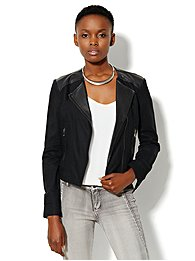 Linen Moto Jacket - Black