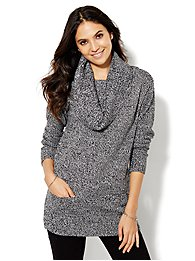 Lounge - Cowl-Neck Tunic Sweater - Marled Knit