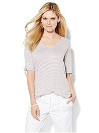Lounge - Scoopneck T-Shirt - Stripe