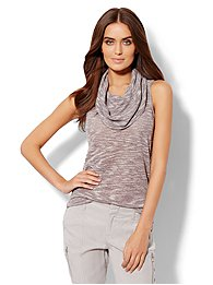 Lounge - Sleeveless Cowl-Neck Top