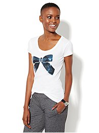 Love, NY&C Collection - Navy Sequin Bow Logo Tee