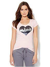 Love, NY&C Collection - Sequin Skyline Logo Tee