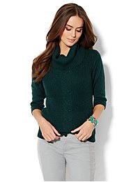 Lurex Cowl-Neck Waffle Sweater