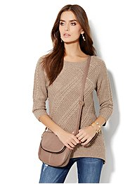Lurex Hi-Lo Cable Sweater