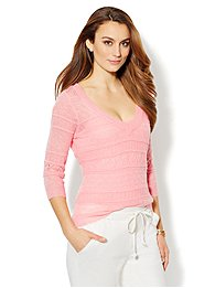 Luxe Knit Open-Stitch V-Neck Sweater