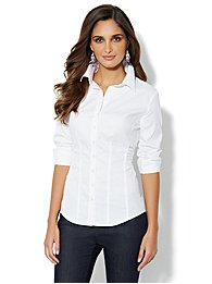 Madison Stretch Shirt - Lurex Stripe