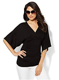 Manhattan Tee - Shirred Faux-Wrap