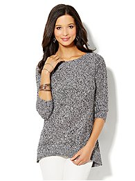Marled Hi-Lo Cable Sweater