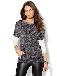 Marled Hi-Lo Tunic Sweater