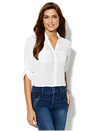 Mercer Cropped Soft Shirt - Paper White