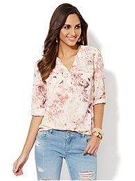 Mercer Soft Popover Shirt - Floral Print