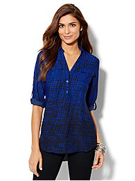 Mercer Soft Tunic - Cross-Hatch Print