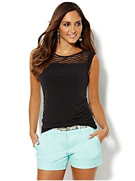 Mesh Inset Sleeveless Top