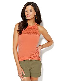 Mesh & Lace Panel Halter Top
