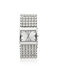 Metallic-Beaded Bracelet Watch