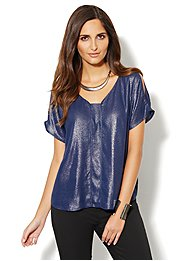 Metallic Cold-Shoulder Top