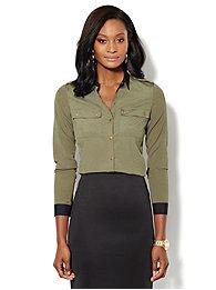 Military Contrast-Trim Shirt