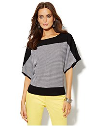 Mini Grid-Stitch Dolman-Sleeve Sweater