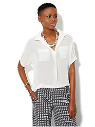 Mix-Knit Dolman-Sleeve Shirt