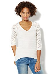 Mix-Knit Tunic Sweater
