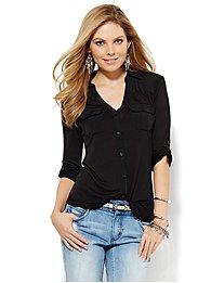 Mixed-Fabric Button-Front Shirt